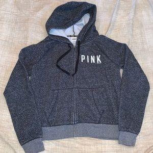 PINK gray sweatshirt jacket, Large